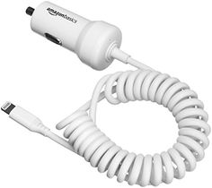 AmazonBasics Coiled Cable Lightning Car Charger - 5V 12W - 1.5 Foot - White #AmazonBasics #Coiled #Cable #Lightning #Charger #Foot #White