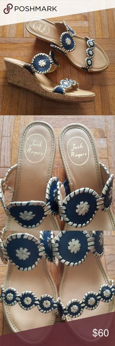Jack Rogers navy gold wedges sandals New without box Jack Rogers Shoes Sandals