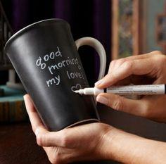 Chalkboard paint on mugs by fujishimaakiko