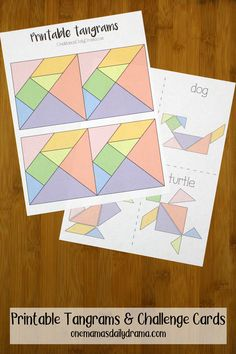 Tangrams are a fun puzzle activity that's perfect for STEAM classrooms, road trip busy bags, and educational playtime anywhere. Use the shapes to create a dog, a turtle, and other creations on the challenge cards. Tangram Printable, Printable Puzzles For Kids, Quiet Time Activities, Classroom Activities, Indoor Activities, Summer Activities, Family Activities, Tangram Puzzles, Challenge Cards