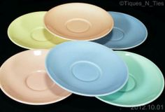 7 Taylor Smith Taylor LuRay Pastels Saucers Pink Yellow Green Blue (no cups) (FF