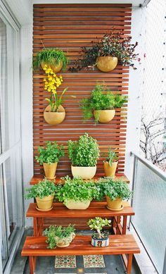 Generally, a balcony only has a table with chairs or even left to be empty. If you are having that kind of balcony, you should start to manage creating a small garden on your balcony because it will give a clement impression into your balcony. Narrow Balcony, Small Balcony Garden, Terrace Garden, Indoor Garden, Home And Garden, Balcony Gardening, Balcony Ideas, Apartment Balcony Garden, Vertical Garden Design