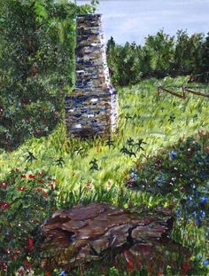 Fireplace in a Field. Acrylic on canvas . Painting Digital, Hiking Boots, Fine Art, Canvas, Walking Boots, Tela, Canvases, Visual Arts, Hiking Shoes