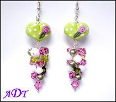 Key+to+My+HeartLampwork+Earrings+in+LimeWhite+by+ariesdesignstoo,+$38.00