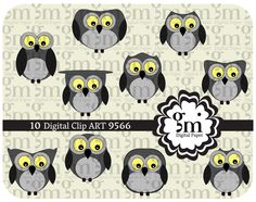 Owl, Owl Clip Art, Owl Clipart, Owl Digital Paper, Owl Digital, Instant Download, Black Owl, Owl Decor - pinned by pin4etsy.com