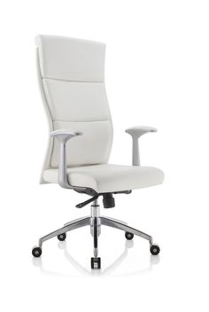 Modrest Ellison Modern White High-Back Office Chair VGFU8134A-WHT Product: 71725 Features : - Upholstered In White Leatherette - Aluminium Armrests - Ergonomic Design - Padded Headrest - Gas-Lift Adju