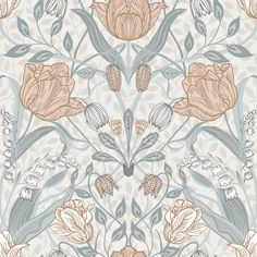 An ornate floral print with a Scandinavian flair, this beautiful wallpaper features an array of tulips and leaves. Off-white, light pink, cream and grey hues perfectly complement its painterly design. Tulipa is an unpasted, non woven wallpaper.
