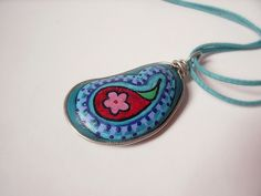 paisley- pebble pendant!