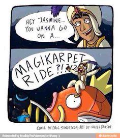 Pokemon Funny - Magikarp & Aladdin & Jasmin - Hilarious Pic ! ( Magikarpet Ride ) - pic -