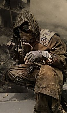 Image result for post apocalyptic trench coat and mask