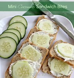 Mini Cucumber Sandwich Bites - 1cucumber - peeled and sliced, 8ozcream cheese - softened, 12ozloaf of mini cocktail rye bread, 1package dry Italian Dressing Mix