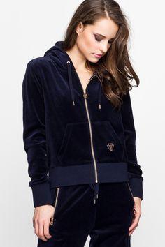 Navy Blue Velvet Hoodie Sweatshirt TALLY WEiJL