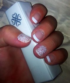 Beautiful french tip and white lace combination! http://www.samanthabell.jamberrynails.net