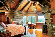 A good night's sleep is guaranteed in these tranquil log home master bedrooms. Let these relaxing log cabin images of log home bedrooms slip into your dreams tonight!