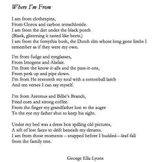 22889914991b where i am from george ella lyon | Poem : Where Im From by George Ella