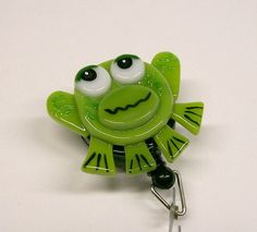 Fused Glass Frog Badge Holder via Etsy