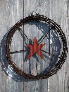 Red Star Barb Wire Wreath Farmhouse Chic by themadprairietinker, $34.00