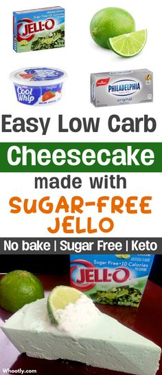 DIY Low Carb Keto Cheesecake Recipe made with Jello. This healthy no-bake dessert recipe is sugar free, gluten free and requires only a few simple ingredients to make! A yummy treat and snack to enjoy…More 8 Guilt Free Sugar Free Cheesecake Ideas Low Carb Deserts, Low Carb Sweets, Low Carb Cakes, Sugar Free Recipes, Low Carb Recipes, Sugar Free Jello Keto, Sugar Free No Bake Desserts, Sugar Free Cheesecake Recipe No Bake, Recipes With Jello