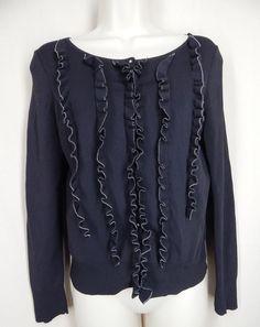 ANN TAYLOR LOFT  Petite Size MP Black Ruffle Front  Cardigan Stretch Knit Top #AnnTaylorLOFT #KnitTop #Casual
