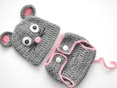 Mouse Newborn Set, Gray Baby Diaper Cover  and Hat, Crochet Baby Mouse Set Baby Set
