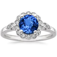 18K White Gold Sapphire Camillia Diamond Ring (1/4 CT. TW.) from Brilliant Earth. Reminds me of my Nana's ring :)