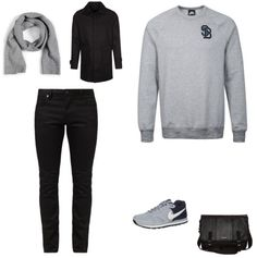 Casual Chic Outfit outfit - Street style - Deze outfit is casual en chic! De zwarte jas van Selected Homme is formeel. Door hem te combineren met de trui van Nike en de jeans van Jack & Jones ontstaat een mooi geheel. De schoenen van Nike geven het geheel een sporty tintje. De tas van Billabong en de sjaal van Selected maken de look compleet.