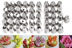 iEFiEL 46Pcs Russian Tulip Flower Icing Piping Cake Nozzles Tips Baking Tools 46 ** Read more  at the image link.