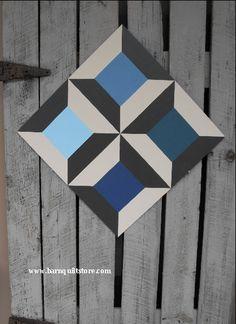 Painted Wood Barn Quilt, Spools Pattern. $65.00, via Etsy.