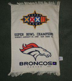 """White, Blue DENVER BRONCOS NFL SUPER BOWL XXXII Souvenir Towel, 22"""" H X 16"""" W #McArthurAthleticTowels #DenverBroncos"""