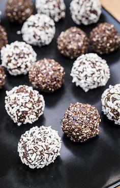 Prune Energy Balls Recipe from Sunsweet Growers® energy ball recipe, prune, energy, recipe Healthy Treats, Healthy Desserts, Dessert Recipes, Healthy Bars, Healthy Breakfasts, Snacks Recipes, Vegan Treats, Healthy Baking, Eating Healthy