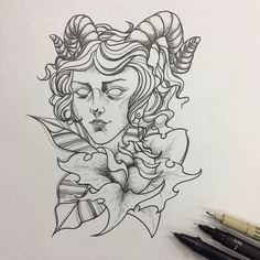 Aries combined with flowers Tattoo Flash Art, Tattoo Illustration, Aries, Art Sketches, Concept, Paintings, Tattoos, Drawings, Flowers