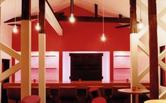 We are a global and creative design studio in Geneva, Tokyo and Beijing. Wooden Beam, Wooden Doors, Wood Planks, Wooden Flooring, Red Bench, Red Bar, Interior Architecture, Interior Design, Red Cushions