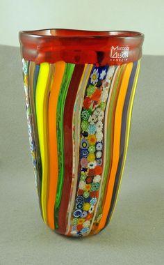 NIB MURANO MILLEFIORI COLORFUL LARGE VASE ITALIAN ART GLASS MADE IN MURANO ITALY in Pottery & Glass, Glass, Art Glass | eBay