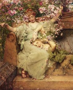 "Lawrence Alma-Tadema ""In a Rose Garden"" (detail) 1890 Lawrence Alma Tadema, Pre Raphaelite Paintings, Beautiful Costumes, Dutch Artists, Woman Painting, Les Oeuvres, Amazing Art, Beautiful Pictures, Romantic"