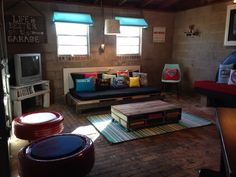 50 Relaxing Basement Rec Room Ideas For Living Area. Having fun doesn't will need to pay as much money so, you can relish your time at home with a number of the rec room ideas on a budget. If you're contemplating developing a rec room in … Teen Basement, Garage Playroom, Garage Game Rooms, Garage Room, Basement Bedrooms, Basement Ideas, Garage Ideas, Basement Storage, Basement Makeover