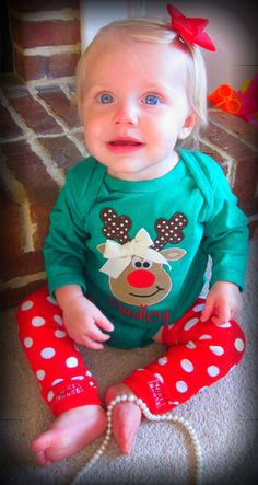 Baby Girl Christmas Onesie Personalized by TheWhimsicalStitches, $28.00
