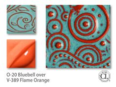 Tile decorated with Bluebell over Flame Orange= great for a glazing workshop Pottery Pots, Glazes For Pottery, Ceramic Pottery, Bisque Pottery, Thrown Pottery, Slab Pottery, Ceramic Techniques, Pottery Techniques, Glazing Techniques