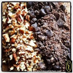 Hand chopping the pecans and chocolate will give you all different shapes and sizes in your cookies =0)
