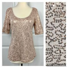 Banana Republic Rose Gold Sequin Shirt Top Size Med. Holiday Party NYE Christmas #BananaRepublic #PartyCocktail Rose Gold Sequin Top, Gold Sequins, Sequin Shirt, Banana Republic Women, Daughter Love, Looks Great, Tunic Tops, Nye, Ebay Clothing