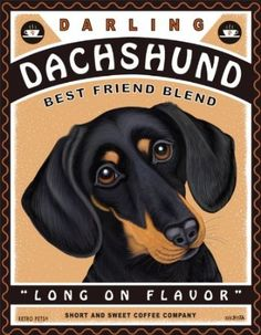 Amazon.com: Retro Pets - Dachshund Art - Darling Dachshund - 8x10 Art Print from the Coffee Dogs Series - Ready to Frame: Home & Kitchen