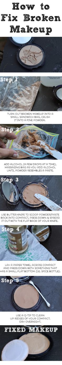 How to Fix Broken Eyeshadow, Blush or Foundation - Ah man! Dont you hate it when you break your favorite make up into a thousand pieces? Before you toss it in the trash, give this step-by-step tutorial on how to fix broken makeup a try. I assure you its easier than you may think!