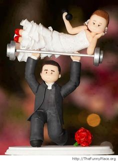 Bodybuilding wedding cake topper. More humor.