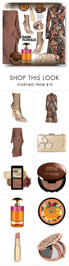 """Winter Prints: Dark Florals"" by pesanjsp ❤ liked on Polyvore featuring Steve Madden, STELLA McCARTNEY, Rimen & Co., MAKE UP FOR EVER, Prada, The Body Shop, Miss Selfridge, Chanel and darkflorals"