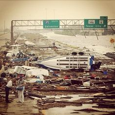 Hurricane Ike Galveston TX.  I was in this hurricane.  NO FUN!!!