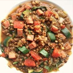 This Ham Lentil Soup is a simple recipe to make with leftover Easter ham! Ham And Lentil Soup, Lentil Soup Recipes, Ham Soup, Lunch Recipes, Healthy Recipes, Healthy Foods, Easter Ham, Chicken Taco Soup, Gluten Free Chicken