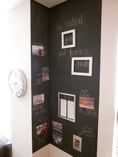 DIY Magnetic Chalkboard- Use painter's tape to section off area.  Six coats of magnetic primer, two coats of chalkboard paint.  Add small strips of magnetic tape to the backs of cheap, **lightweight** frames (these are from Target, Ikea, and Michael's).  Use rare earth magnets for photos and lists (be careful with kids around- these magnets are strong!).