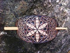 Flower design hand carved leather hair barrette  tooled