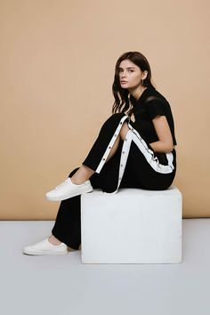 Rock the Sportswear trend with this wide-leg loose fitted Modest Pants in Black & White that has clip-on buttons along the sides. Modest Pants, Affordable Fashion, Wide Leg, Sportswear, Ready To Wear, Legs, Black And White, How To Wear, Clothes
