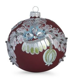 White Decoris Handpainted Bauble Ornament with Flowers