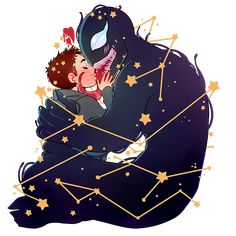 """So, I love you because the entire universe conspired to help me find you. Marvel Venom, Marvel Dc Comics, Marvel Avengers, Eddie Brock Venom, Chibi, Yuri, Venom Art, Thor X Loki, Comic Movies"